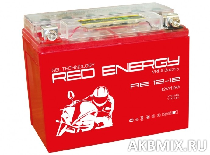 Аккумулятор Red Energy RE 12-12 (12V, 12Ah, 185A) [YTX14-BS, YTX12-BS]