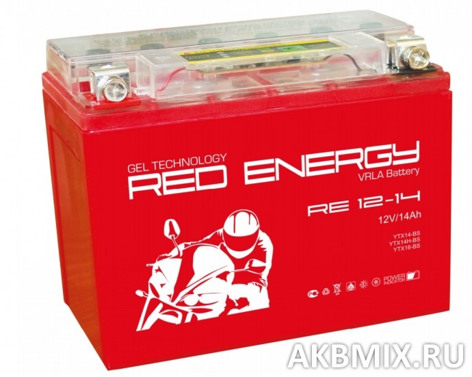 Аккумулятор Red Energy RE 12-14 (12V, 14Ah, 210A) [YTX14-BS, YTX14H-BS, YTX16-BS, YB16B-A]