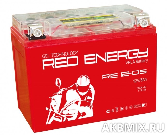 Аккумулятор Red Energy RE 12-05 (12V, 5Ah, 85A) [YTX5L-BS, YTZ7S, YT5L-BS]