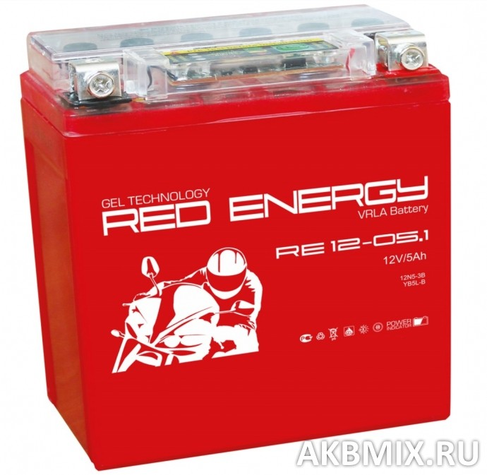 Аккумулятор Red Energy RE 12-05.1 (12V, 5Ah, 50A) [12N5-3B, YB5L-B]