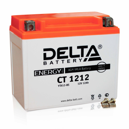 Аккумулятор Delta CT 1212 (12V, 12Ah, 180A) [YTX14-BS, YTX12-BS]