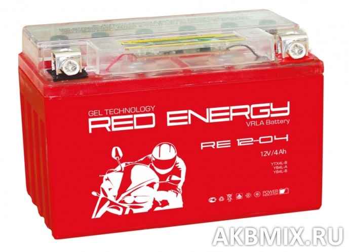 Аккумулятор Red Energy RE 12-04 (12V, 4Ah, 60A) [YB4L-B, YB4L-A, YTX4L-BS]