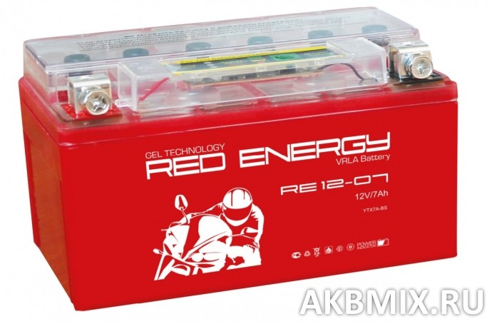 Аккумулятор Red Energy RE 12-07 (12V, 7Ah, 110A) [YTX7A-BS]